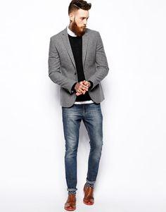 ASOS | ASOS Slim Fit Blazer In Tweed at ASOS