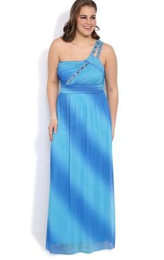 9ebfea6edce Plus Size Ombre Glitter Long Prom Dress with One Shoulder Strap Also  available in juniors sizes