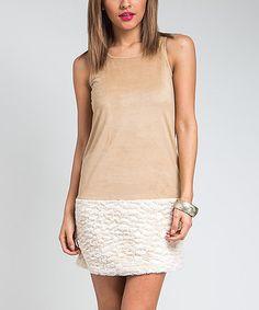 Look at this #zulilyfind! Taupe Faux Fur-Hem Shift Dress #zulilyfinds