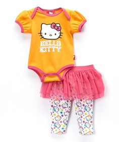 Another great find on #zulily! Clementine 'Hello Kitty' Bodysuit & Skirted Leggings - Infant #zulilyfinds