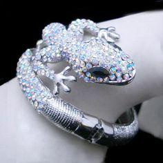 Animal Gecko Lizard Bracelet Bangle w Swarovski Crystal