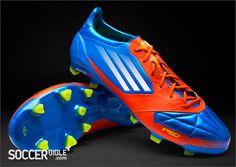 premium selection 475dd dd850 adidas F50 adizero miCoach Leather Football Boots - Blue White Energy Botas  De Fútbol