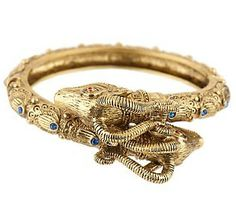 """Jackie's Ram's Head bracelet with sapphire accents was a gift from JFK. It sold at Sotheby's historic auction of the Jacqueline Kennedy estate in 1994, this bracelet was typical of Jackie's taste in animal-themed jewelry. A friend to animals, Jackie adored her animal-themed jewelry, which she called her """"critters."""""""