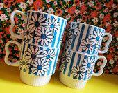 Flower Power Mod Ceramic Stacking Mugs