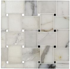 """Kelli Ellis Sophia Marble and Mirror Tile  l  premium Calacatta marble and timeless antique mirror will effortlessly bring a look of understated class with just a hint of Hollywood glamour into your home. Elegant and alluring, inspire your senses and enhance your ambiance with this dazzling selection from our brand new Kelli Ellis Collection. Chip Size: 2 1/4"""" x 3"""" (Dot1/4"""" x 1/4"""") Sheet Size: 11"""" x 11""""  Finish is polished and the thickness is 10 mm ($18.95 per sheet)"""