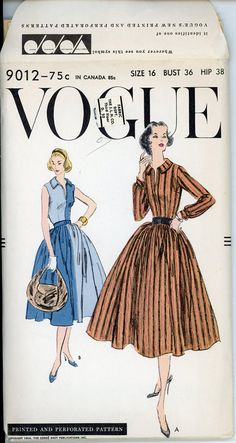 1950s Full Skirt Vintage Dress Pattern Vogue 9012 by CynicalGirl