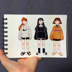 선아시(sunahsun)님의 스타일 | 고3의 학교&학원룩 정보입니당 채색은 보통 수채화->색연필로 선따기->좁은 블랙면적 컴싸 또는 펜으로 Pretty Art, Cute Art, Character Art, Character Concept, Pretty Drawings, Korean Art, Character Design Inspiration, Art Sketchbook, Character Illustration