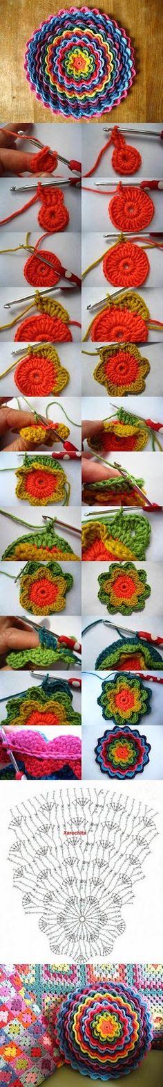 #T34 DIY Cojín Flor Floreciente ~ CTejidas [Crochet y Dos Agujas]