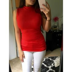 """Candy Apple Mock Neck Top Brand new without tags. Soft, stretchy basic, sleeveless tee with a mock neck. Fits true to size.   Available in Mocha, Candy Apple Red and Navy.   •Material: 95% rayon, 5% spandex  •Medium: 26"""" L, 14.5"""" across bust   ❗️Please use this listing to purchase. Price firm. No trades. Bundle to save 15%.❗️ Tops Tank Tops"""