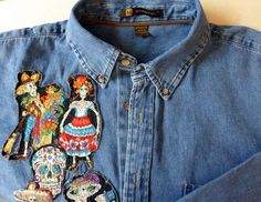 Day of the Dead Shirt Fabric Art Denim Shirt Paseo de los Muertos Shirt  Altered Jean Shirt One-of-a-Kind Shirt Gift for Him Gift for Her by Quiltwear on Etsy