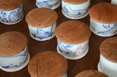 Collaboration: Ayumi Horie ceramic salt cellars with hand-turned cherry wood lids by Josh Vogel.