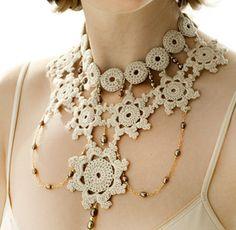 Lace crochet necklace