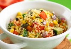 This easy couscous salad recipe is really quick and simple to make - there's no cooking involved, just soak the couscous in stock for 10 minutes, then mix in loads of crunchy veg. A great idea for picnics and packed lunches. Couscous Salad Recipes, Salad Recipes For Dinner, Dinner Salads, Lunch Recipes, Cooking Recipes, Detox Recipes, Vegetarian Magazine, Vegetarian Cooking, Vegetarian Recipes