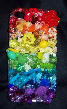 Rainbow Deco Den iPhone 4, 4G, 4S case charms fruity bling animal flowers on Etsy, $20.00