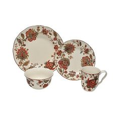 Fifth Winter Floral Red 16 Piece Dinnerware Set White/Red ($120) ❤ liked on Polyvore featuring home kitchen \u0026 dining dinnerware casual dinnerwa\u2026  sc 1 st  Pinterest : red white dinnerware sets - pezcame.com