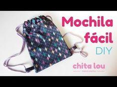 Mochila fácil. Tutorial DIY - Blog Chita Lou Sewing For Kids, Baby Sewing, Sewing Diy, Mochila Tutorial, Drawstring Backpack Tutorial, Sewing Tutorials, Sewing Projects, Diy Backpack, Diy Couture