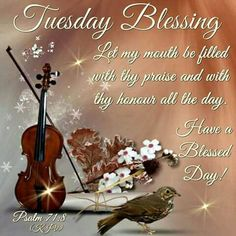 """TUESDAY BLESSING: Psalm 71:8 (1611 KJV !!!!) """" Let my mouth be filled with thy praise and with thy honour all the day."""" HAVE A BLESSED DAY !!!! Cute Good Morning Quotes, Good Day Quotes, Good Morning Messages, Good Morning Greetings, Good Morning Good Night, Night Quotes, Tuesday Morning Wishes, Tuesday Greetings, Tuesday Images"""