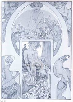 Alphonse Mucha Figures Decoratives Art Gallery, Pictures, Prints
