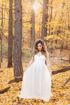 Angelic maternity fall photoshoot with ivory chiffon maternity gown by sew trendy accessories  #rochesterny #maternity #maternitygown #ivorygown