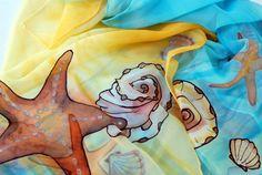 "Lightweight Chiffon Scarf - ""Sea Stars & Shells"""