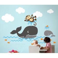 Dekorjinal  Balina ve Maymun Çocuk Sticker - CC55