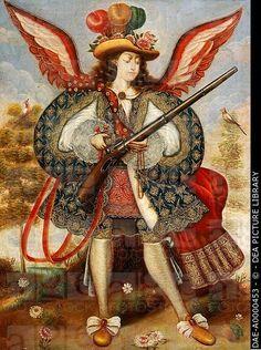 Warrior angel, 18th century, by an artist of the Cuzco school.  Salamanca, Museo Provincial De Bellas Artes (Art Museum)