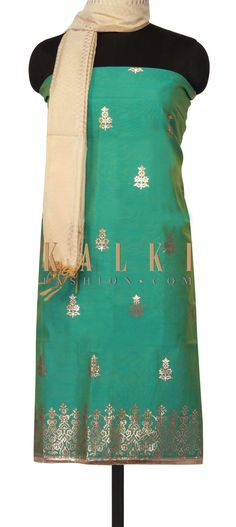 Turq shaded unstitched suit in gotta applique work only on Kalki