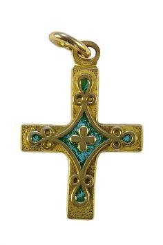 6d1c2a9681416 Bijou   Croix en pendentif en bronze émaillé   Trèfle et cabochons, bijou  médiéval
