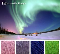 In celebration of this week's solar flare. Aurora yarn color palette. Shetland Yarn: Waterlily, Delphinium, Iris, and Kiwi. View our collection: http://www.harrisville.com/Harrisville-Shetland-Skein-p/yss.htm