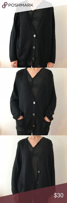 "American Apparel black Mohair Cardigan S/M Gently worn Mohair blend cardigan by American Apparel. Beautiful and soft. Plenty of life left! Made of: 42% acrylic, 30% mohair, 2% nylon. Measurements (flat): length; 25"", chest; 23"", shoulder; 18"", sleeve; 25"". Comes from a smoke-free, pet-free home. American Apparel Sweaters Cardigans"