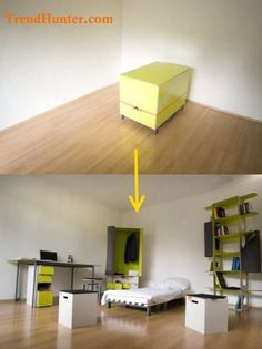 Fold-Away Bedrooms: 'The Room' by Oda Expands to Reveal a Fully Furnished Suite