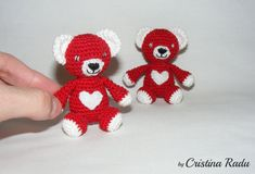 Crochet red Bears Baby Bears Valentine's day by cutetoysbycristina