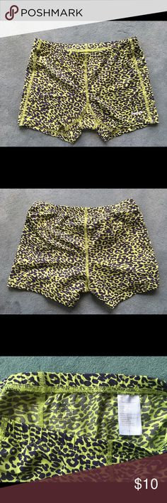 green cheetah spandex Gently used, no flaws, great condition Reebok Shorts