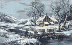 Homestead in Winter Country Landscape Counted Cross Stitch Pattern / Chart, Currier & Ives,  Instant Digital Download   (AP024) Counted Cross Stitch Patterns, Cross Stitch Designs, Currier And Ives, Country Landscaping, Winter Landscape, Digital Pattern, Landscape Architecture, Homestead, Embroidery Designs