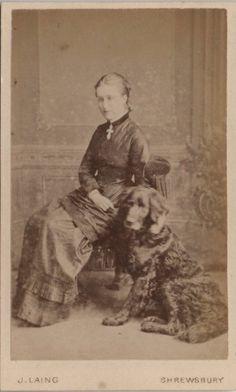 CDV Victorian Girl with Dog Labrador Fashion - Laing of Shrewsbury 1870s