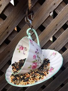 Garden Bird Feeders, Perfect Gift For Her, Garden Ornaments, Upcycled Vintage, Teacup, Exhibit, Gifts For Mom, Lamb, Spoon