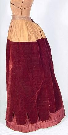 Velvet ensemble, view 2: skirt. note velvet stops at hips to reduce bulk in waistband
