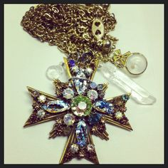 Vintage Double Cross Swarovski Faith Necklace with Mustard Seed and Healing Quartz on Etsy, $40.00