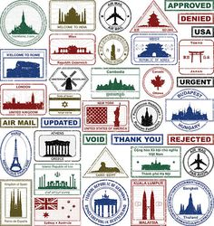 Excellent value file of many passport stamps.