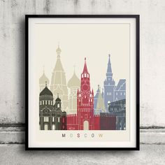 Moscow skyline poster  Fine Art Print Glicee Poster by Paulrommer