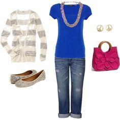 cobalt blue & hot pink w/ sequins & boyfriend jeans