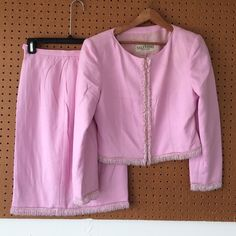 """Valentino Boutique skirt suit. Valentino Boutique pink skirt suit. Size 10. Hand beaded. Feels like silk. Measures: 36"""" bust. Sleeves 22"""". Waist 28"""" Valentino Skirts"""