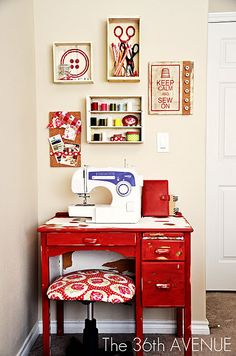Beautifully organized sewing area from Desiree at The 36th Avenue: http://www.the36thavenue.com/2011/08/sew-cute.html
