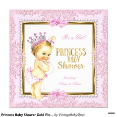 Princess Baby Shower Gold Pink Pearls Lace Blonde Invitation