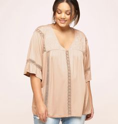 922ec4dae0d36 Shop romantic boho-style tops in sizes 14-32 like the plus size Embroidered