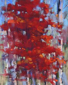 Painting my World: A Splash of Red....Autumn Tree Pastel