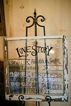 Rustic wedding idea: write the couple& love story timeline on a glass pane and framed with distressed wood. Farm Wedding, Wedding Signs, Diy Wedding, Rustic Wedding, Dream Wedding, Wedding Day, French Wedding, Wedding Stuff, Just In Case