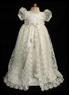 Exquisite Lace Overlay Christening Gown 0 3 months 36 by Caremour,