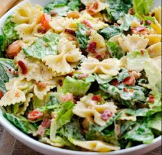 Prep Min Serves 6 Ingredients cups uncooked bow tie pasta 6 cups torn romaine lettuce 1 medium tomato, diced 4 bacon strips, cooked and crumbled cup ranch dressing 1 Tablespoon barbecue sauce teaspoon Tomato Pasta Salad, Blt Pasta Salads, Pasta Salad Recipes, Pasta Recipies, Dinner Dishes, Pasta Dishes, Pasta Food, Good Healthy Recipes, Vegans