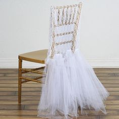 Efavormart White Bridal Wedding Party Lace and Tulle Tutu Chair Covers Dinning Event Slipcover for Banquet Catering Wedding Chair Sashes, Wedding Chairs, Wedding Chair Covers, Bridal Shower Chair, White Bridal Shower, Bridal Shower Party Favor, Baby Shower Chair, Bridal Shower Balloons, Elegant Bridal Shower